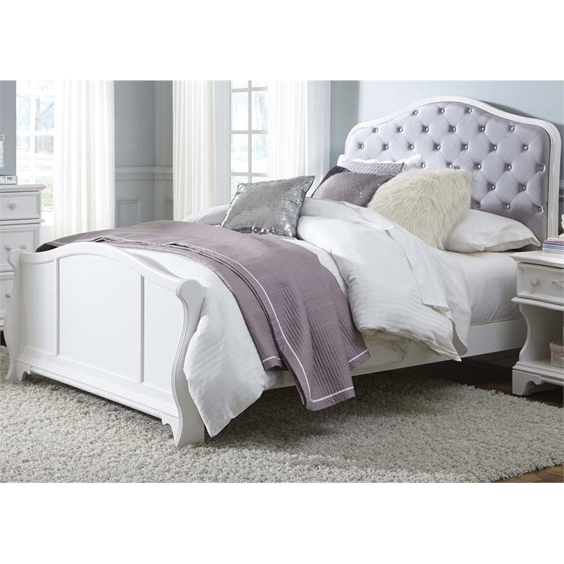 Liberty Furniture Arielle Upholstered Twin Panel Bed In Antique White