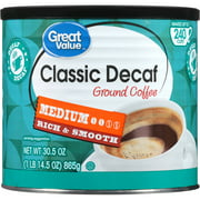 Great Value Classic Decaf Medium Ground Coffee, 30.5 oz