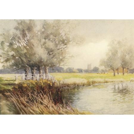 Essex 1909 Dedham from the Stour Canvas Art - Louis Burleigh Bruhl (18 x 24)