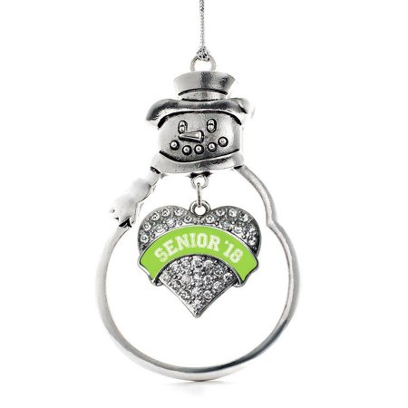 Lime Green Senior 2018 Pave Heart Snowman Holiday Ornament, This 2.5 inch ornament is crafted from white metal topped with a shiny silver tone.., By Inspired
