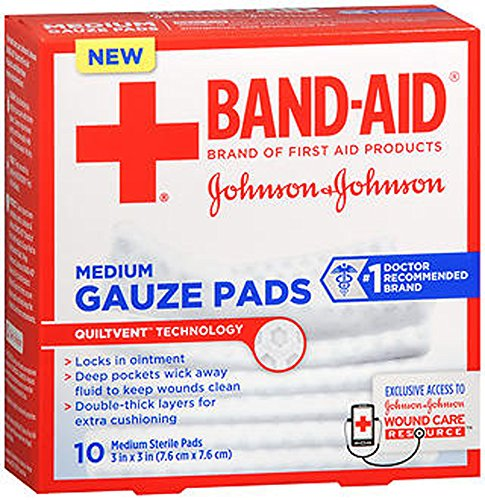 5 Pack - BAND-AID First Aid Medium Gauze Pads, 3 in x 3 in, 10 Each