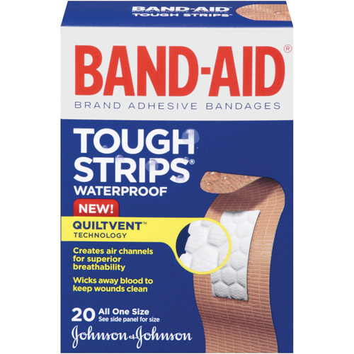 Band-Aid Brand Tough-Strips Waterproof Adhesive Bandages, 20 Count