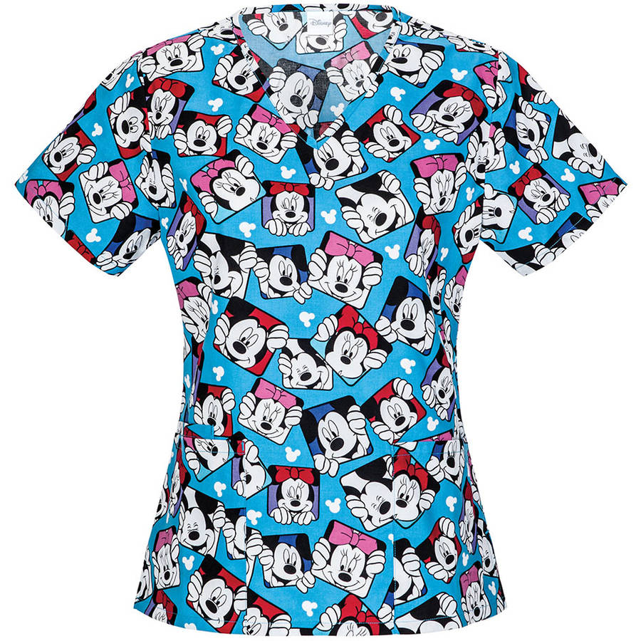 Disney Women's Fashion Collection Peek-A-Boo Mickey V-Neck Scrub Top