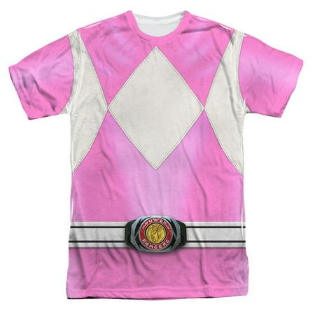 Power Rangers Men's  Pink Ranger Sublimation T-shirt White - Power Ranger Suits