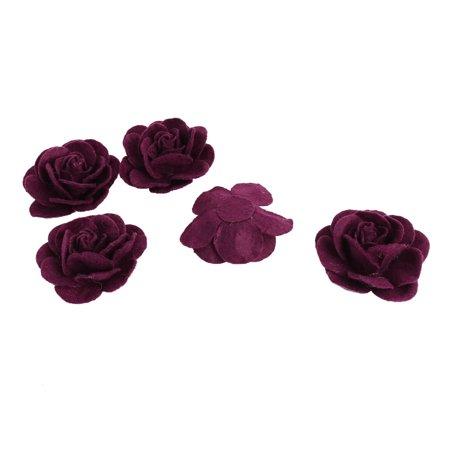 Dress Accessories Artificial Handcraft Flower Rose Heads Dark Purple 5 PCS ()
