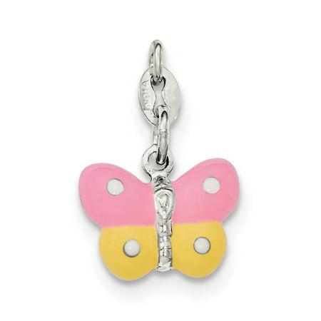 Enamel Butterfly Charm - Sterling Silver Polished Enamel Butterfly Charm