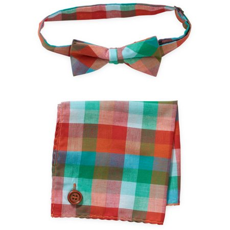 Troy James Genevieve Goings Collection Baby Toddler Boy Check Bow Tie & Hanky 2 Pc Set