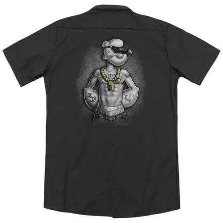 Popeye Hardcore  Back Print  Mens Work Shirt