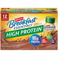Carnation Breakfast Essentials High Protein Ready to Drink Nutritional Breakfast Drink, Rich Milk Chocolate, 12 - 8 FL OZ Bottles
