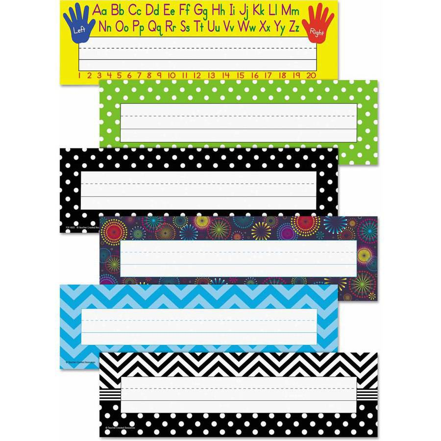 "Teacher Created Resources Nameplate Set, 11.5"" x 3.5"", Assorted Colors, 216/Set"
