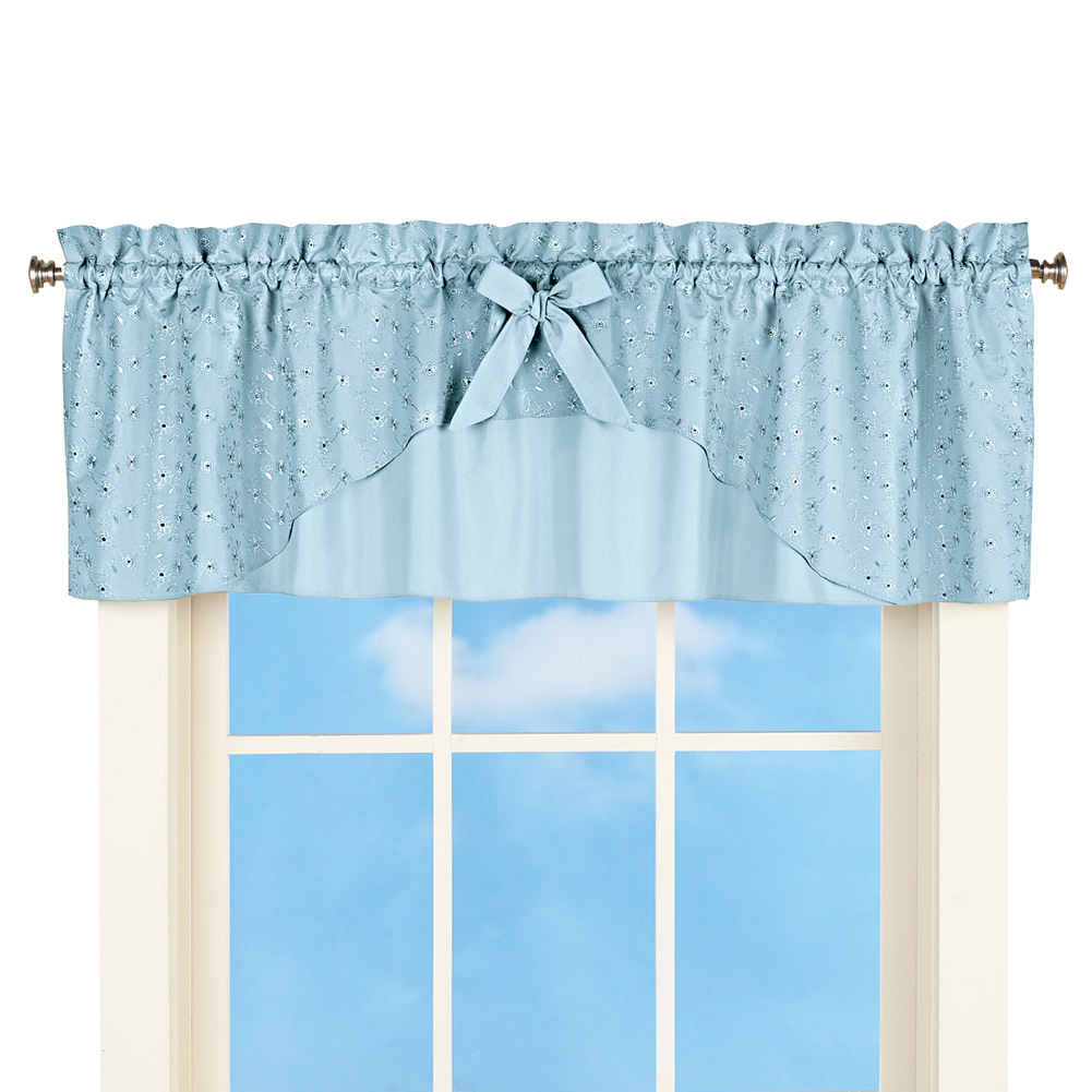 Eyelet Ruffled Window Curtain Valance Topper With Rod