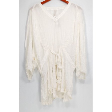 1c4d4e73b9610 Seven7 Plus Size Top 2X 3 4 Sleeve V Neck Hi Low Hem Tie Waist White -  Walmart.com