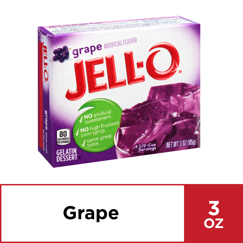 (4 Pack) Jell-O Grape Gelatin Dessert, 3 oz Box