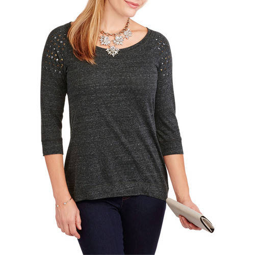 French Laundry Women's Long Sleeve Hi - Lo T - Shirt with Studded Sleeve