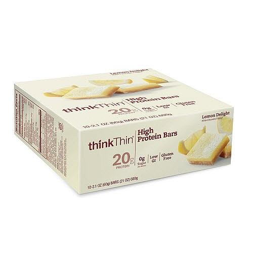 thinkThin High Protein Bars, Lemon Delight, 20g Protein, 10 Ct