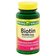 (2 Pack) Spring Valley Biotin Softgels, 10000 mcg, 120 Ct