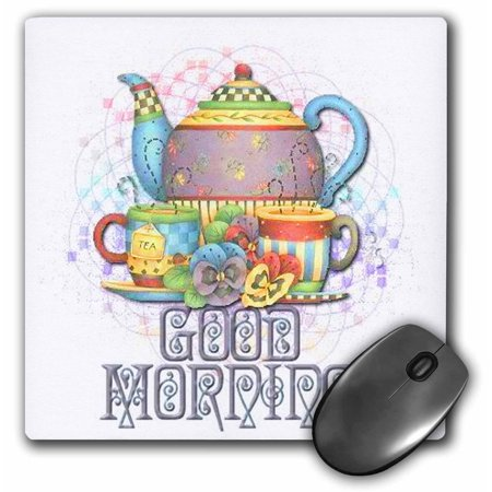 3dRose Beautiful patterned colorful teapot set for that Good morning message to a friend, Mouse Pad, 8 by 8
