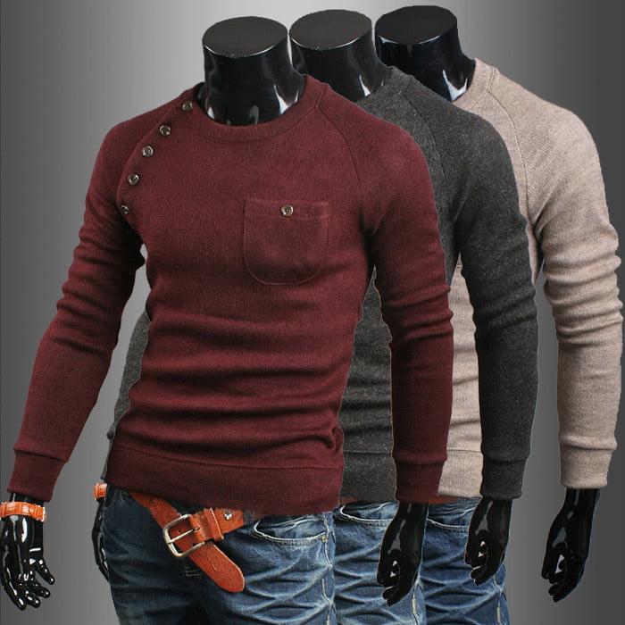 xiaohuoban Men Slim Kintted Long Sleeve Turtleneck Sweaters