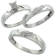 sterling silver diamond trio wedding ring set his 45mm hers 4mm rhodium finish - Wedding Ring Trios