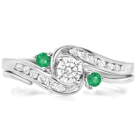 Dazzlingrock Collection 18K Round Emerald And White Diamond Ladies Swirl Bridal Engagement Ring Set, White Gold, Size 5.5