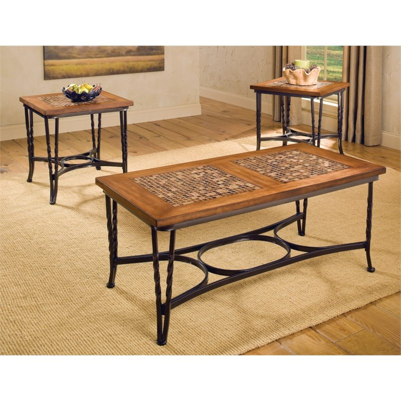 Bernards Mulberry 3 Piece Coffee Table Set in Mosaic