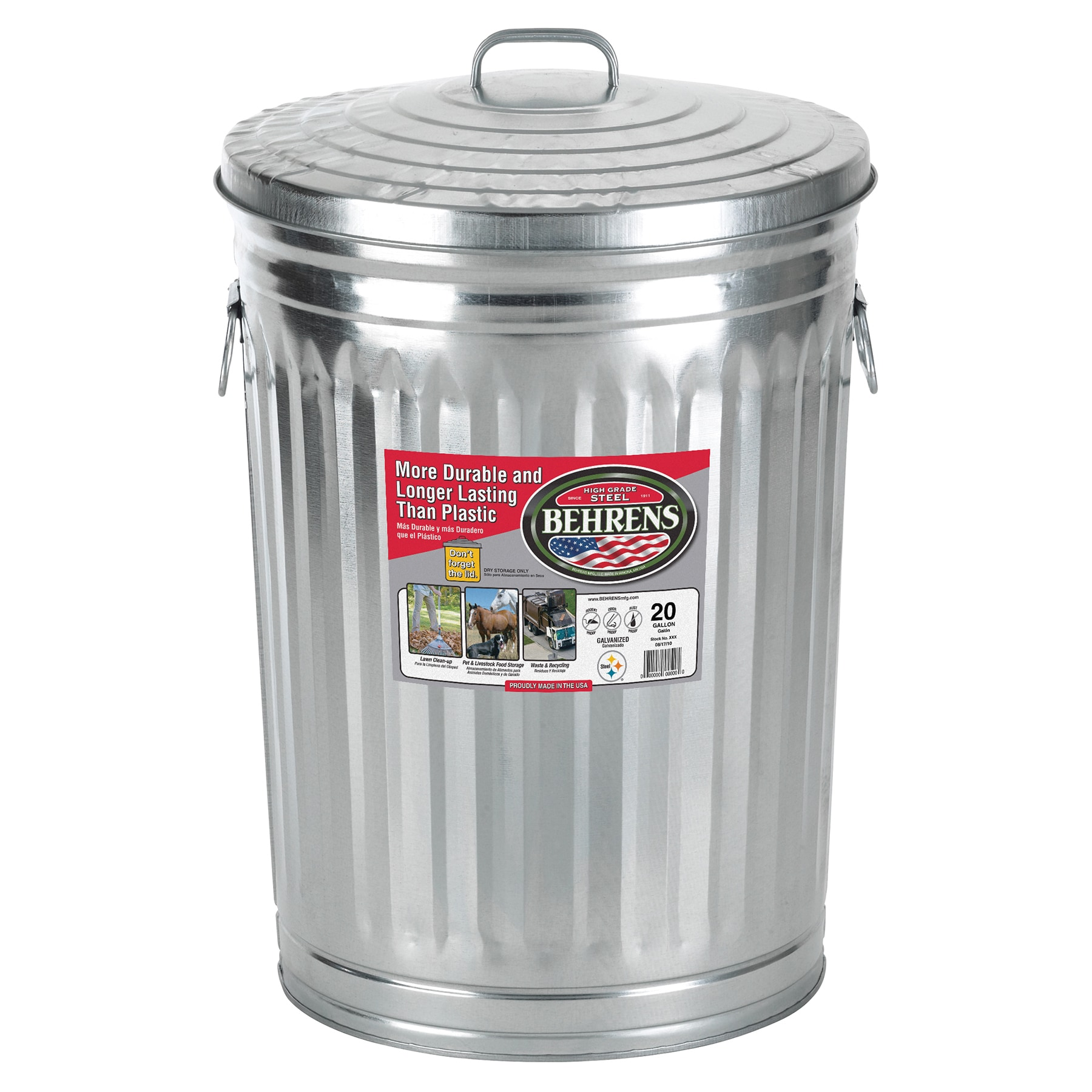 Behrens High Grade Steel 1211 20 Gal Silver Galvanized Steel Trash Can With  Lid