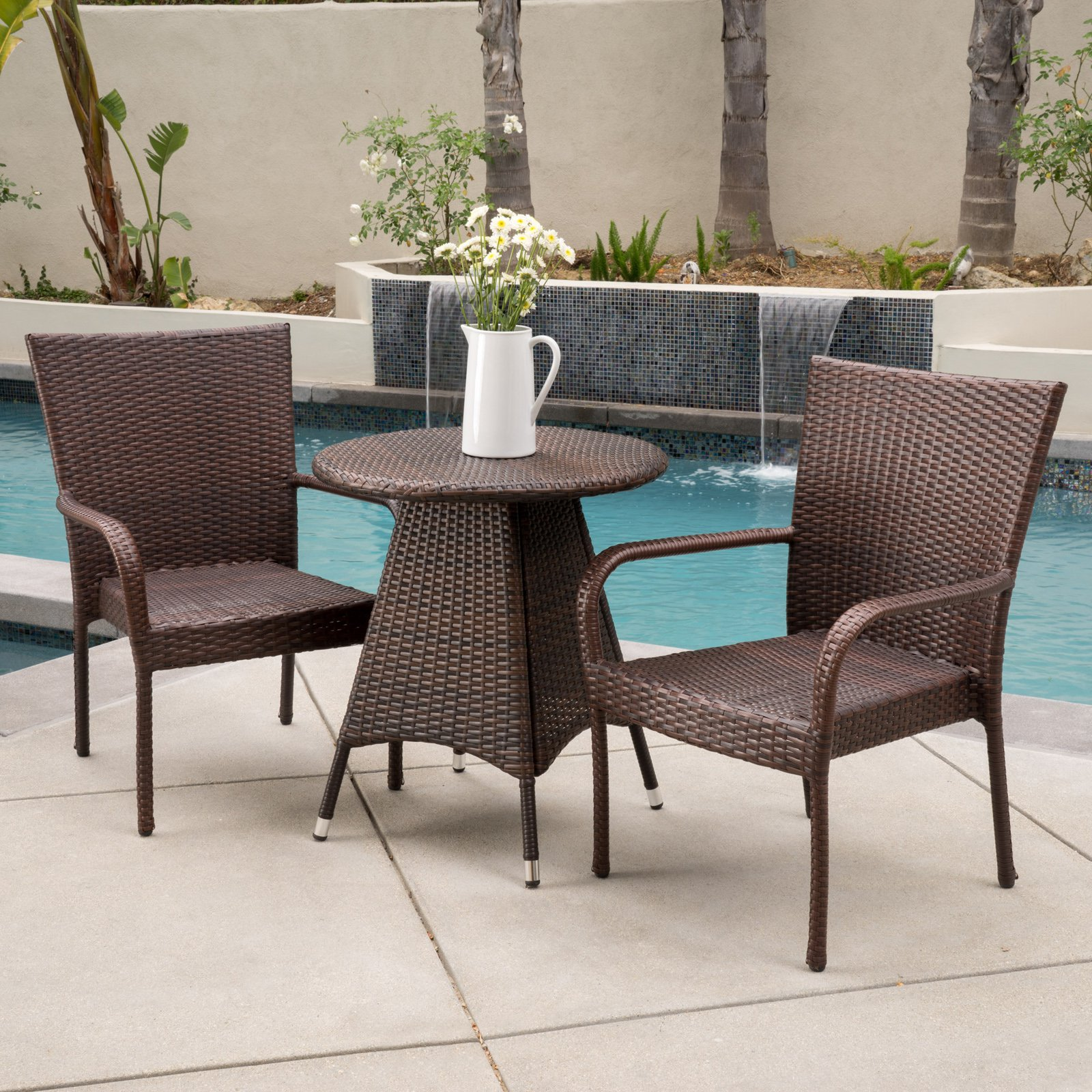 Robert Wicker 3 Piece Round Bistro Set