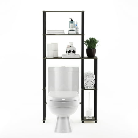 Furinno 17050/GYW/BK Turn-N-Tube Toilet Space Saver with 5 Shelves