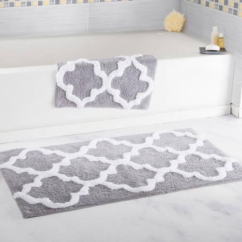 Somerset Home 100% Cotton 2-Piece Trellis Bathroom Mat Set - White
