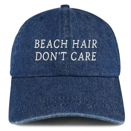 Beach Hair Don t Care Embroidered 100% Cotton Denim Cap Dad Hat - Dark 15f16f3c2f1