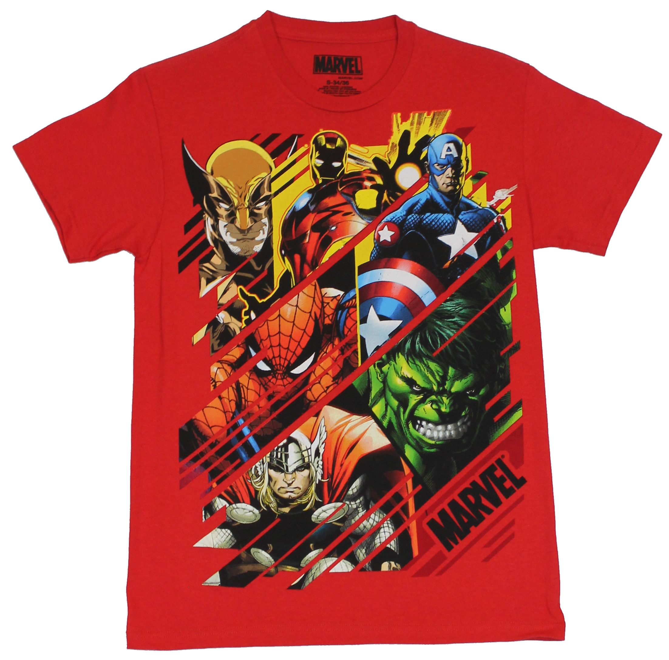 Marvel Comics Mens T-Shirt - Swiped Images of Hulk Thor Cap Spidey & More