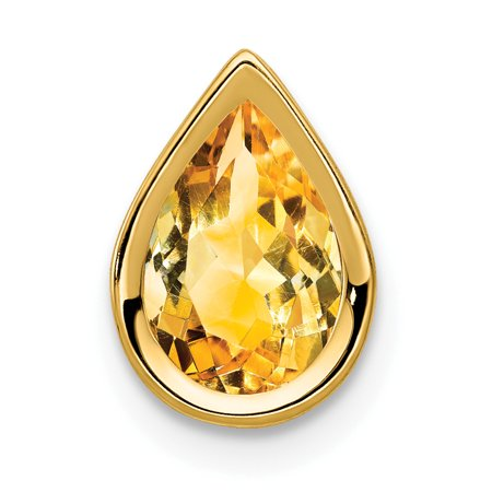 14K Yellow Gold 9x6mm Pear Citrine Bezel Pendant