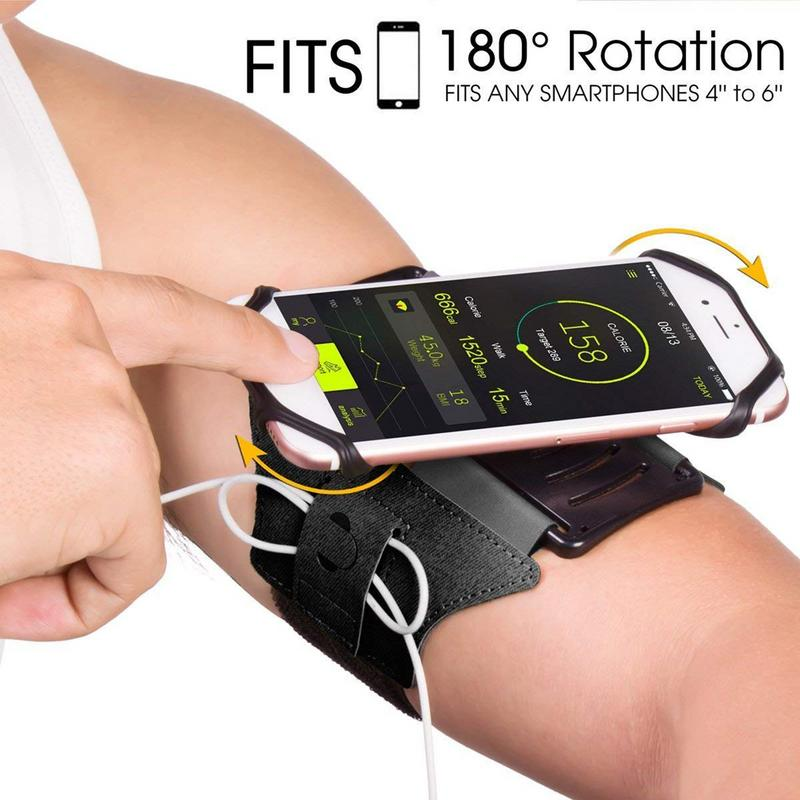 Running Armband for iPhone X/ iPhone 8 Plus/ 8/ 7 Plus/ 6 Plus/ 6, Galaxy S8/ S8 Plus/ S7 Edge, Note 8 5, Google Pixel, 180° Rotatable with Key Holder Phone Armband for Hiking Biking Walking