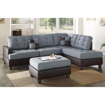 Astounding 3 Piece Faux Leather And Fabric Sectional Sofa Set With Ottoman Evergreenethics Interior Chair Design Evergreenethicsorg