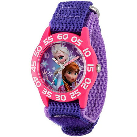 Disney Girls Collection Watch (Frozen Anna & Elsa Girls' Plastic Case Watch, Purple Nylon Strap )