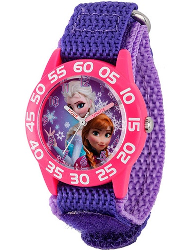 Disney Frozen Anna & Elsa Girls' Plastic Case Watch, Purple Nylon Strap