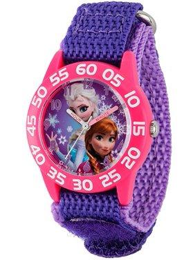Frozen Anna & Elsa Girls' Plastic Case Watch, Purple Nylon Strap