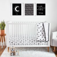 Little Star Organic Pure Organic Cotton Crib Bedding Set, 3 Pc, White-To the Moon and Back