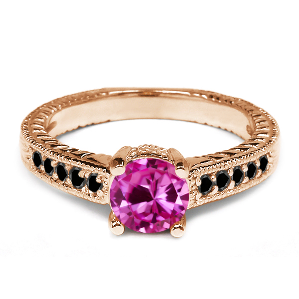 1.17 Ct Round Pink Created Sapphire Black Diamond 18K Rose Gold Engagement Ring by