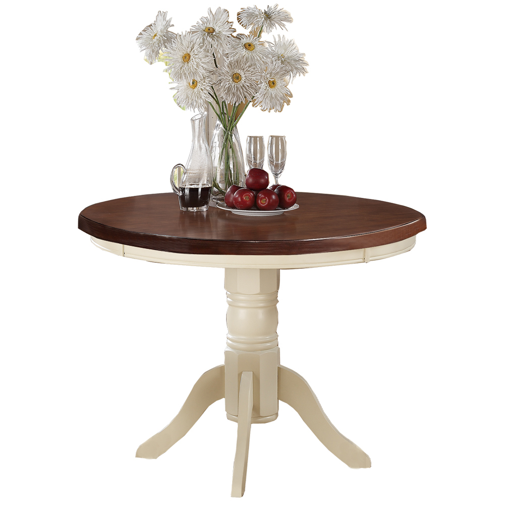 Acacia Rubber Wood Round Dining Table, Brown & Cream by Poundex