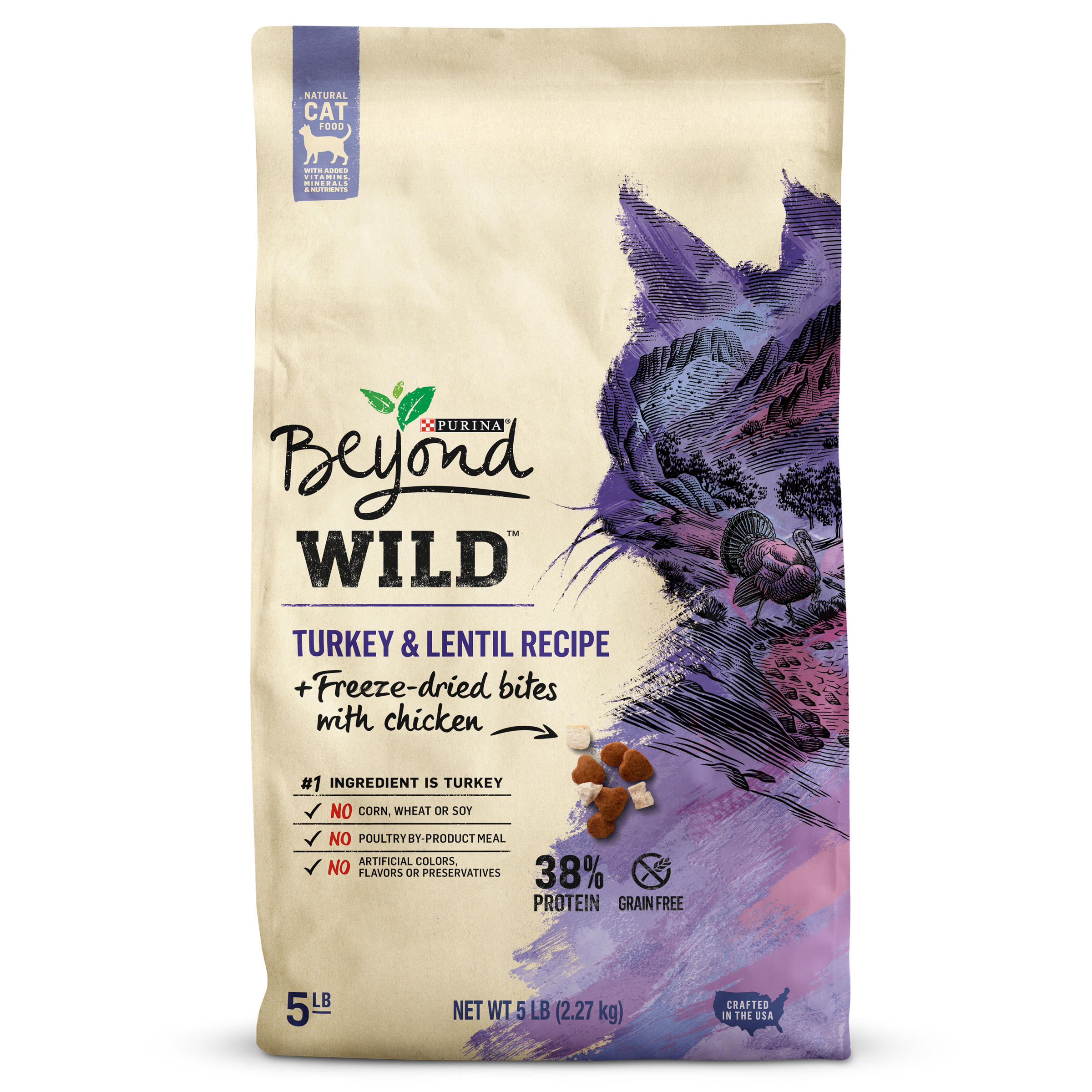 Purina Beyond High Protein, Grain-Free Wild Turkey + Freeze-Dried Natural Dry Cat Food (Various Sizes)