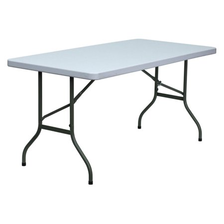 Flash Furniture 30''W x 60''L Granite White Plastic Folding Table ()