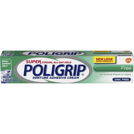 Super Poligrip Original Formula Zinc Free Denture Adhesive Cream, 2.4