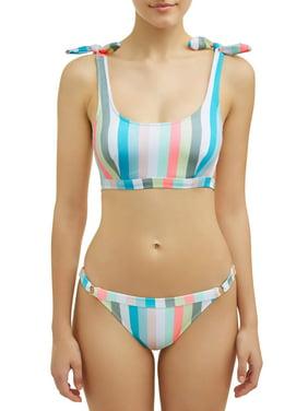 b54f27d5e2 Product Image Juniors' Pastel Lines Bralette Swimsuit Top