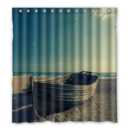 DEYOU Abandoned Boat Shower Curtain Polyester Fabric Bathroom Size 66x72 Inches