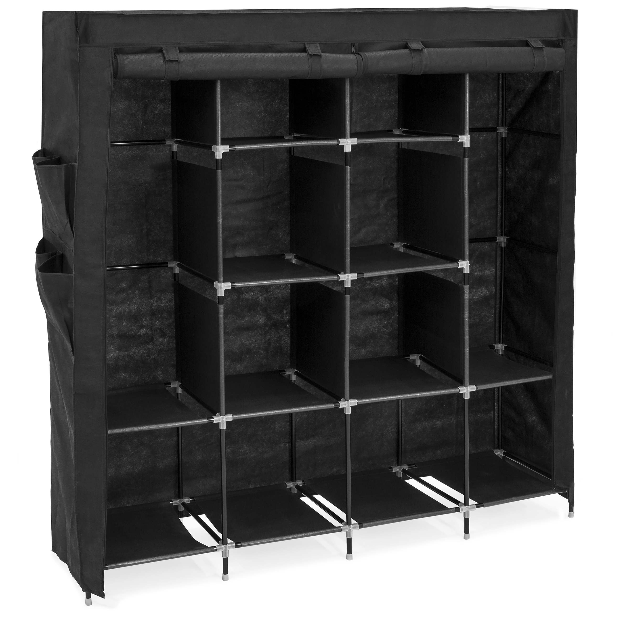 Best Choice Products 12-Shelf Portable Fabric Home Organizer Wardrobe Storage Closet System - Black