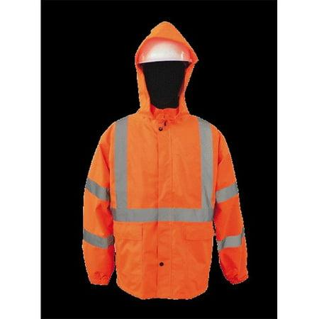2W 730C-3 L 100 Percent Waterproof Rain Jacket - Orange, Large