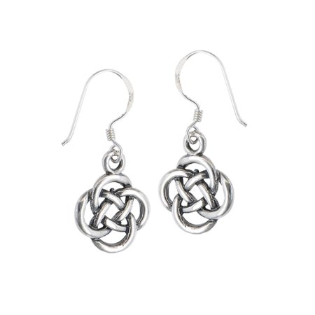 New .925 Sterling Silver Celtic Knot Dangle French Wire Earrings