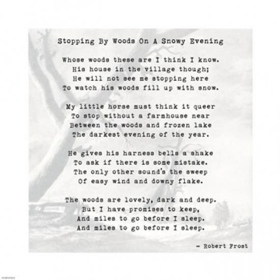 Stopping By Woods On A Snowy Evening - Robert Frost Poster Print (10 x 10)