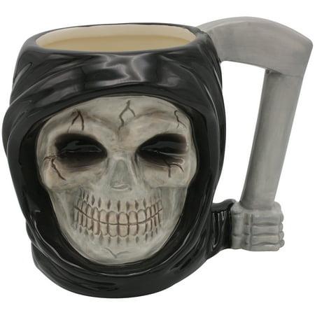 Grim Reaper Coffee Mug - 18 Ounce Ceramic Tea Cocoa Cup w/ Scythe Handle - Paper Tea Cups With Handles